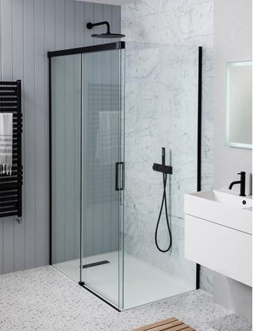 mpro single slider shower door sku mpro black sng sld wth side pnl