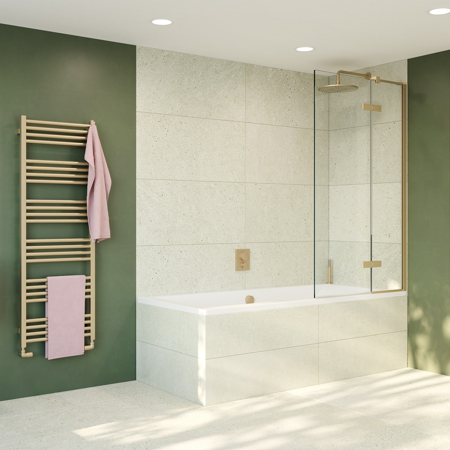 Optix 10 Brushed Brass Bath Screen