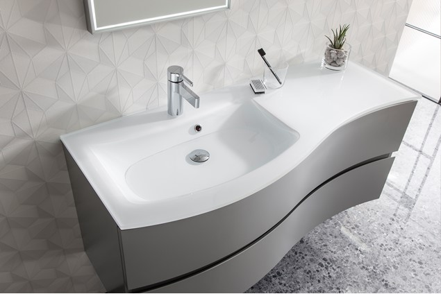 Svelte 120 Unit Amp Ice White Glass Basin In Bathroom