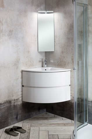 Svelte Corner Unit Amp Cast Mineral Marble Basin In Bathroom