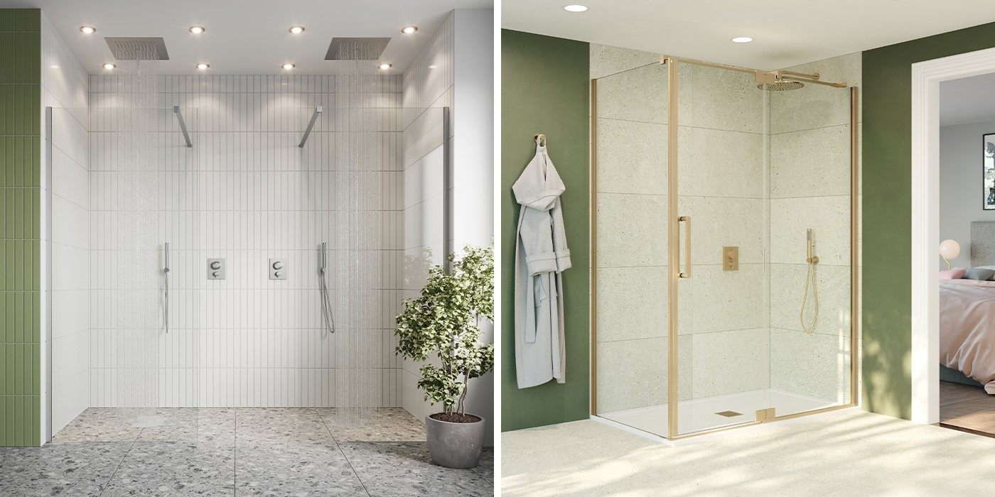 Contemporary Shower Room   Create the ultimate space of relaxation with the 10mm range of luxury walk in showers or luxury shower enclosures