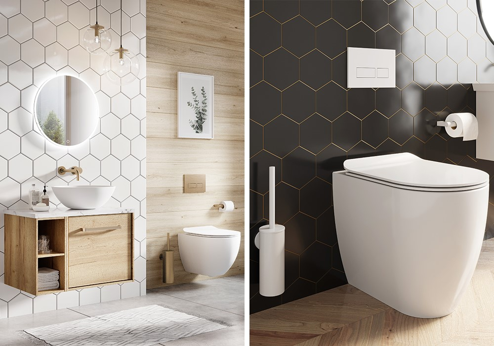 Modern Bathroom Colours | Introduce colourful accents using Crosswater modern bathroom accessories.