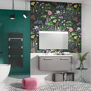 brave bathroom, floral wallpaper bathroom