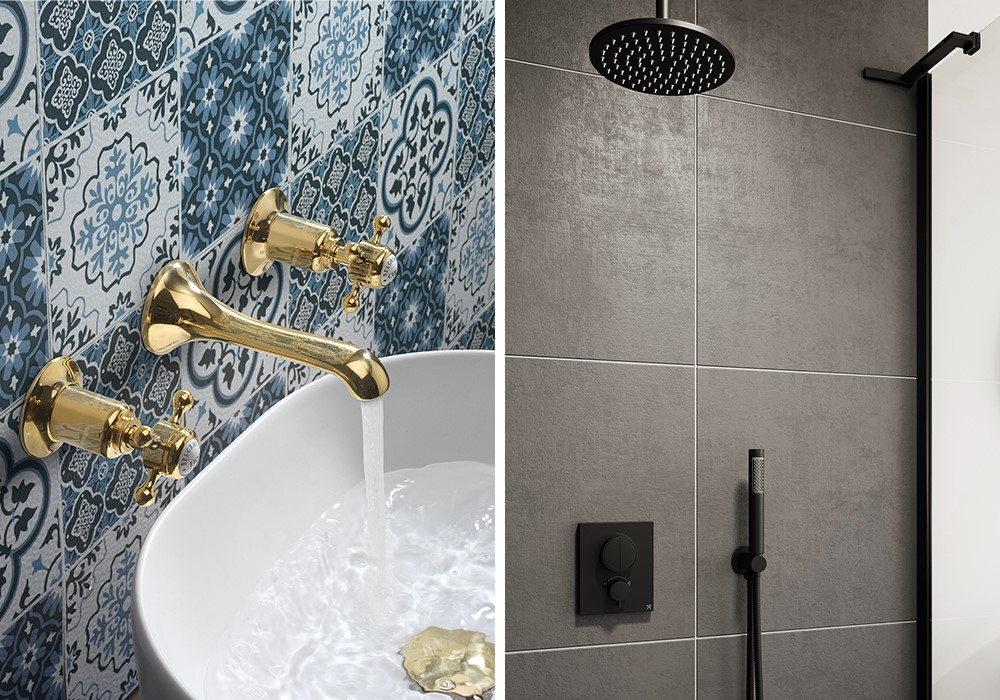 Modern Bathroom Colours | Be bold with Belgravia or MPRO brassware for a colourful modern bathroom.