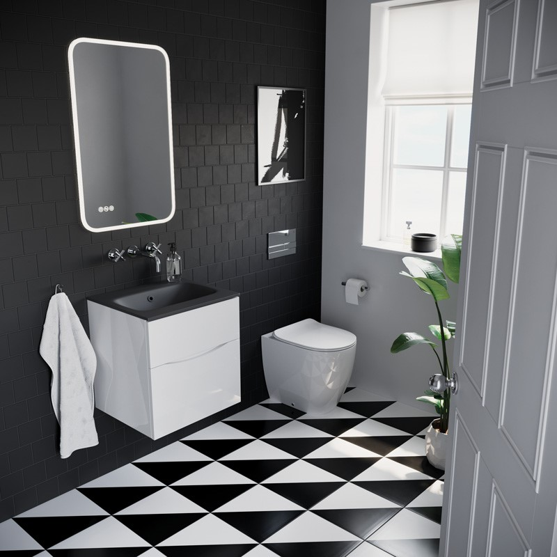 Modern Contemporary Bathroom | Make a statement with this monochrome modern cloakroom design