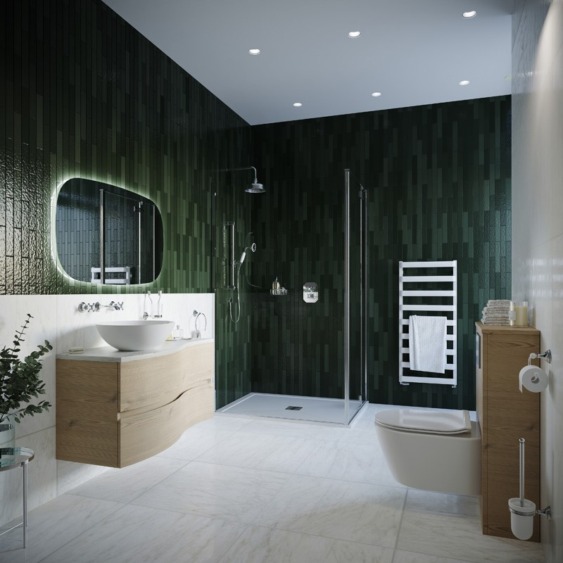 Modern Contemporary Bathroom | Inspire a modern family bathroom design that promotes complete relaxation with this Restorative Green bathroom