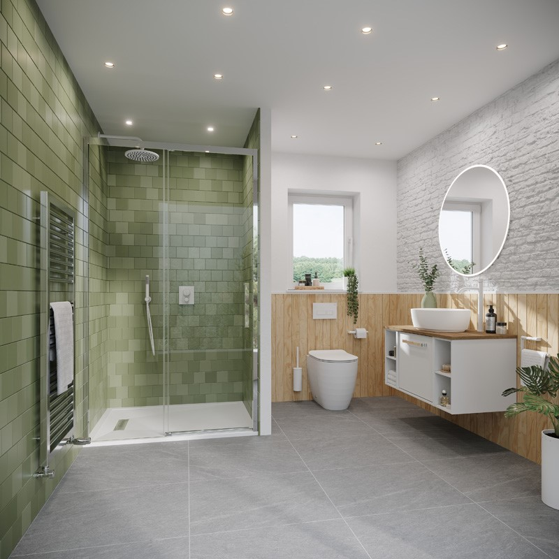 Modern Contemporary Bathroom | Create a Soothing Scandi bathroom by embracing natural elements for the perfect modern family bathroom design