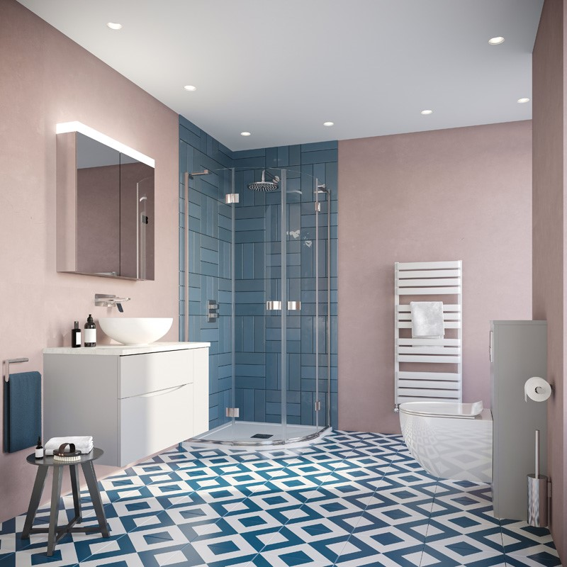 Modern Contemporary Bathroom | Take your modern family bathroom design to a new level with this vibrant Eclectic colour bathroom