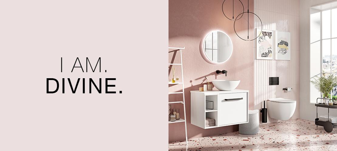 Modern bathroom design, millennium pink, matt black taps