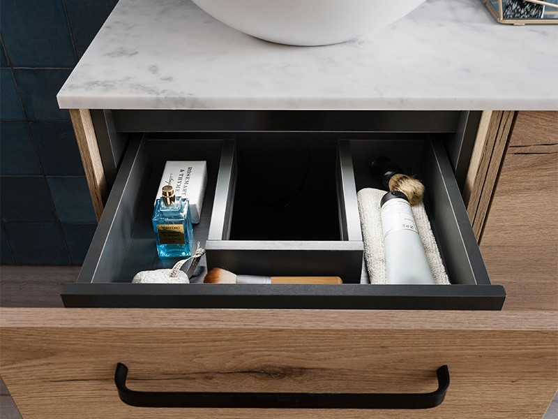 Contemporary bathroom furniture   For luxury contemporary bathroom storage, add an internal drawer organiser to your Infinity unit