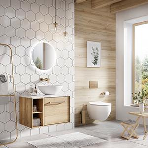 mindful bathroom, wood bathroom, white bathroom