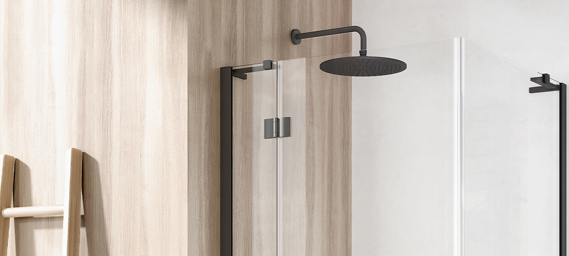 Matt Black Shower Enclosure & Matt Black Shower Head