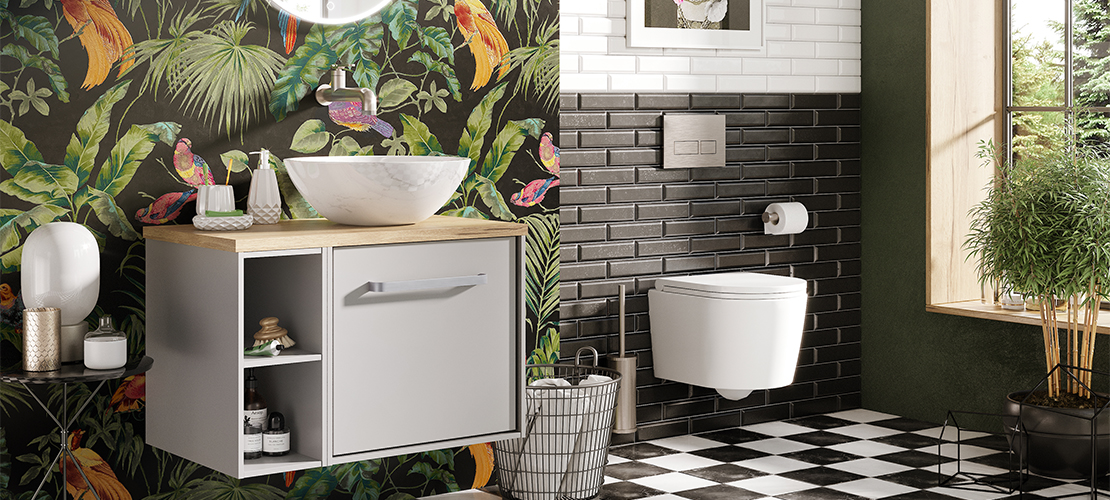 Monochrome bathroom, Bohemian wall prints