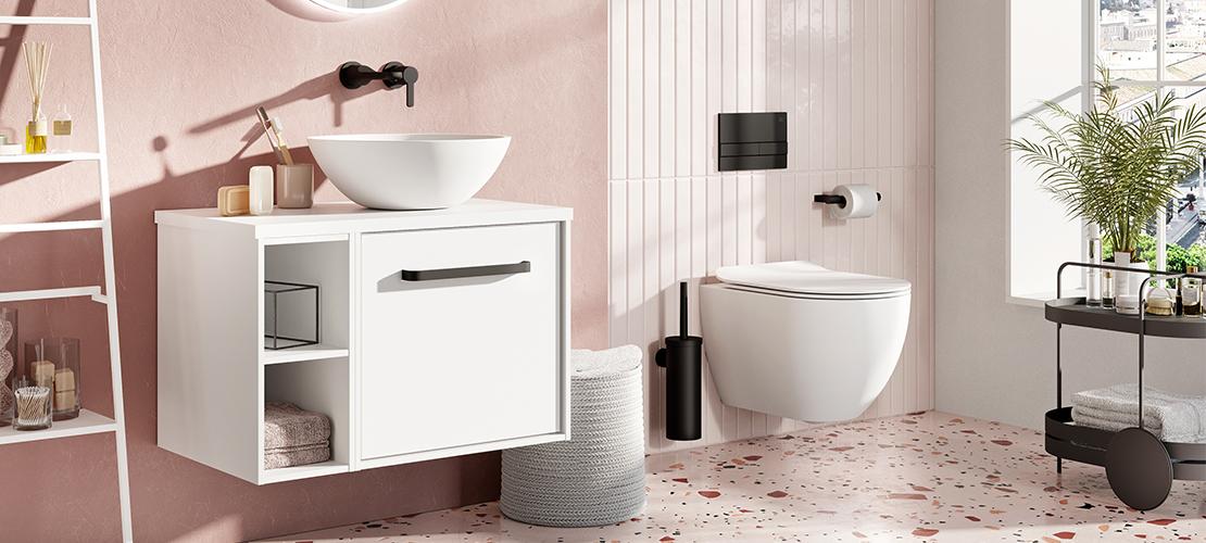 Millennium Pink bathroom, matt Black taps & accessories