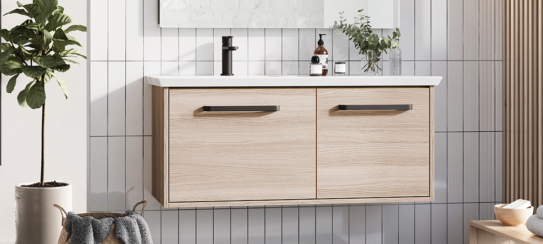 Matt Black Taps & Wood Bathroom Vanity Unit
