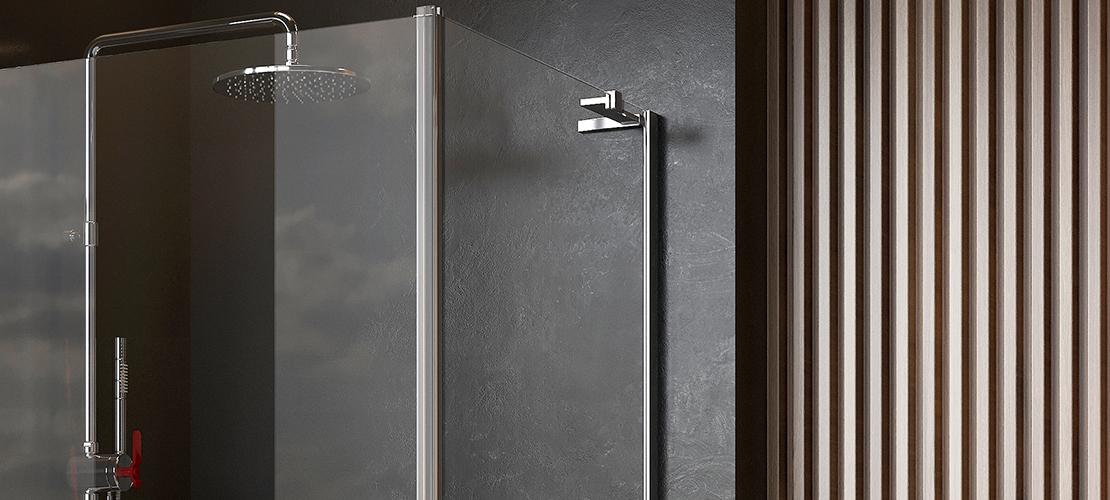 Chrome shower enclosure