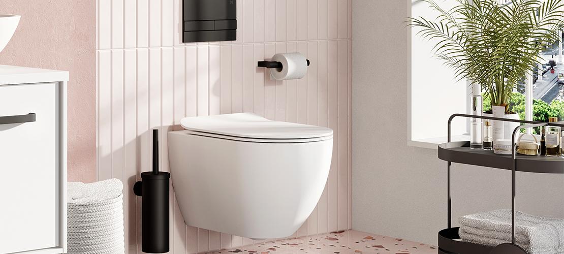 Matt black toilet brush holder and matt black flush plate