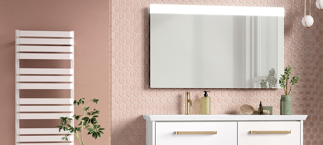 Glamourous millennium pink bathroom design