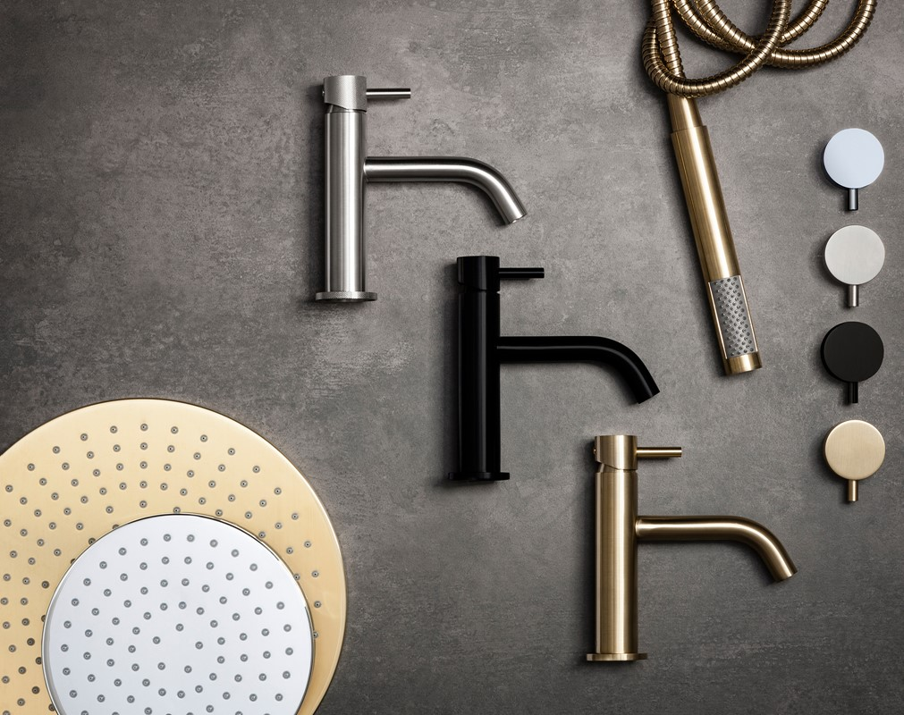 MPRO Brassware in Brushed Brass, Matt Black and Stainless Steel.