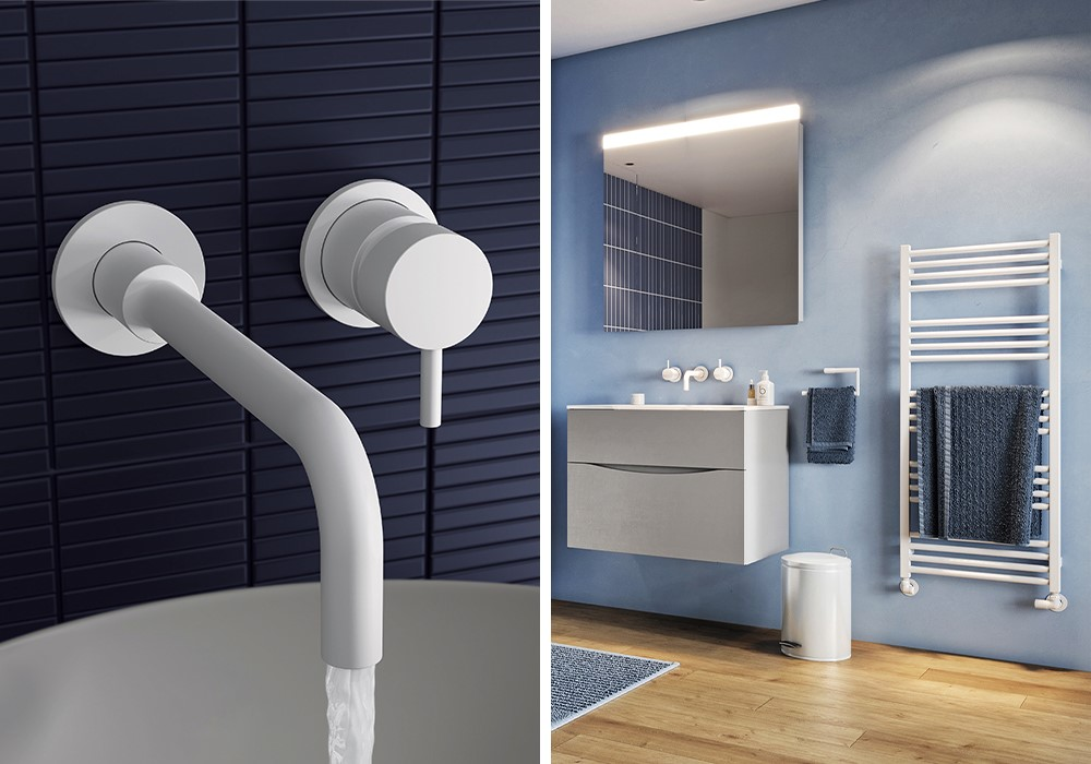 Modern White Bathroom | Use MPRO Matt white basin mixer to enhance the look of your luxury white bathroom.
