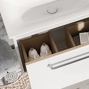 Arena Bathroom Furniture in White with open drawer