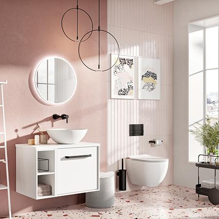 Matt Black & Millennium Pink Bathroom