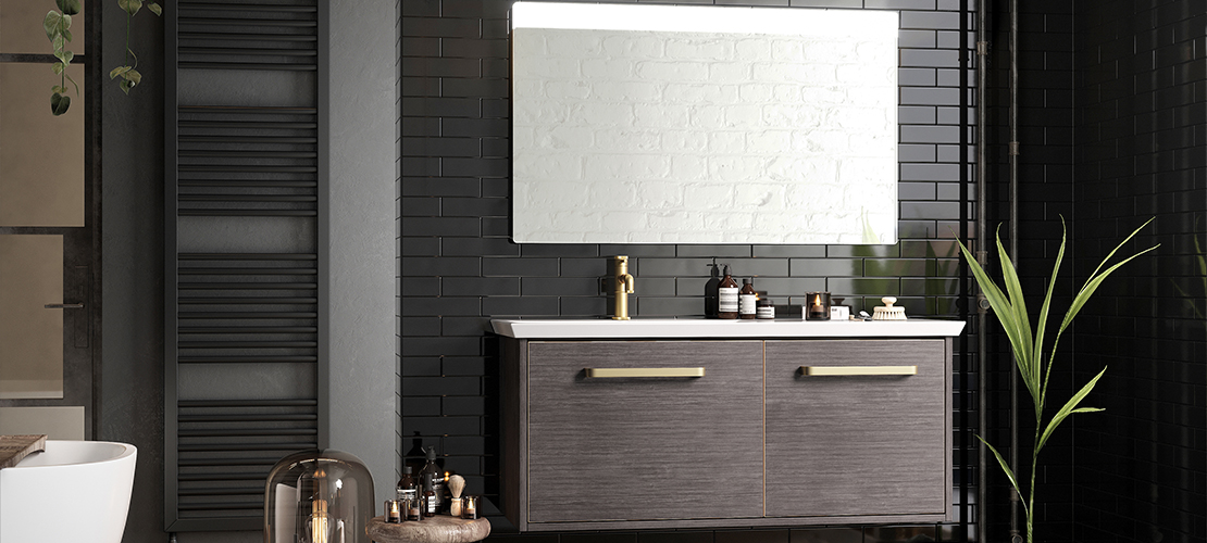 Wall hung vanity unit, grey bathroom design