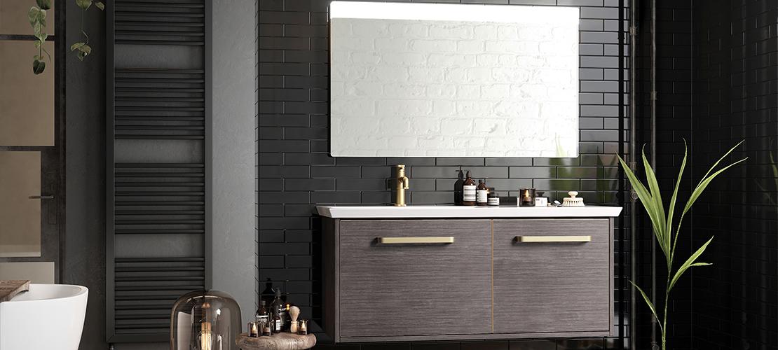 Wall hung vanity unit, grey bathroom design