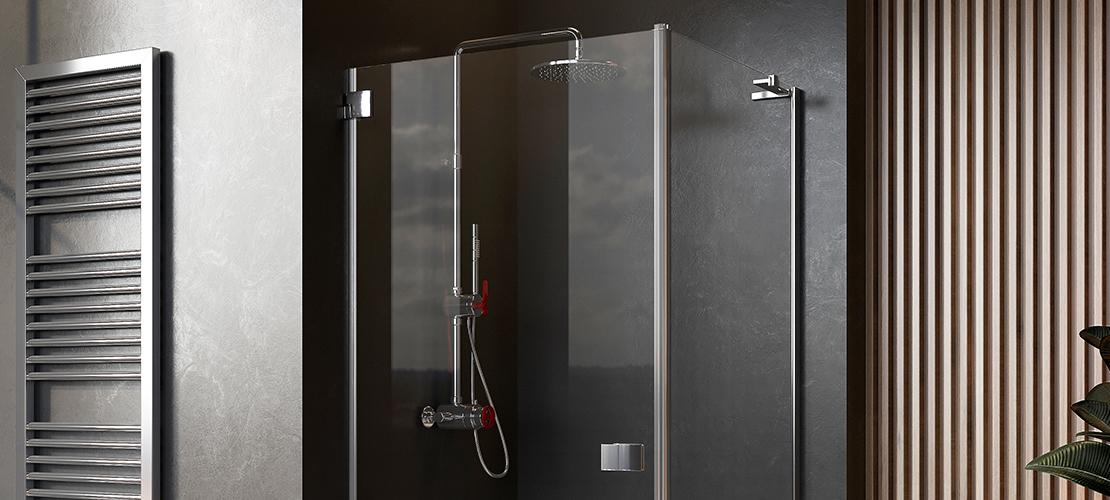 Chrome shower enclosure, wood paneling bathroom walls