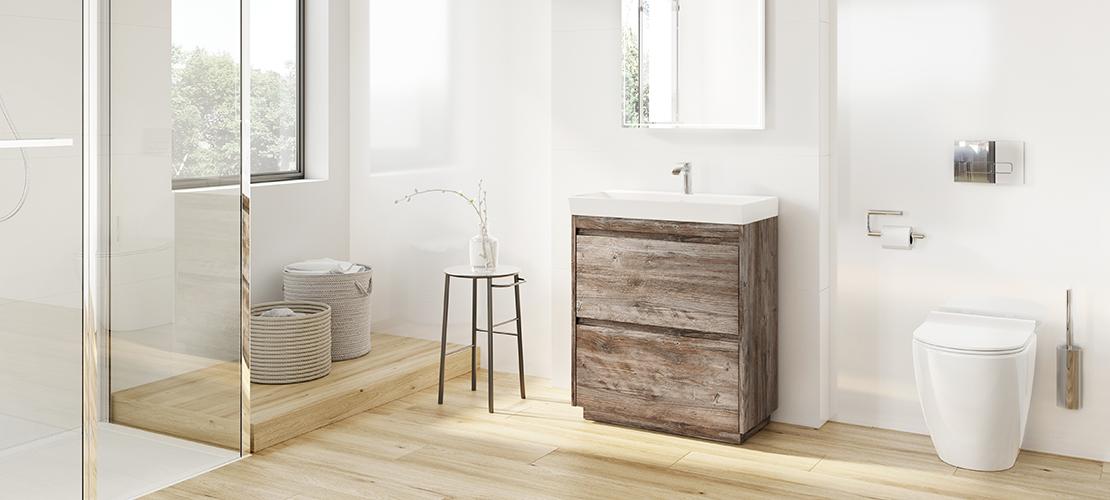 A sleek handleless bathroom furniture   Zion   Crosswater
