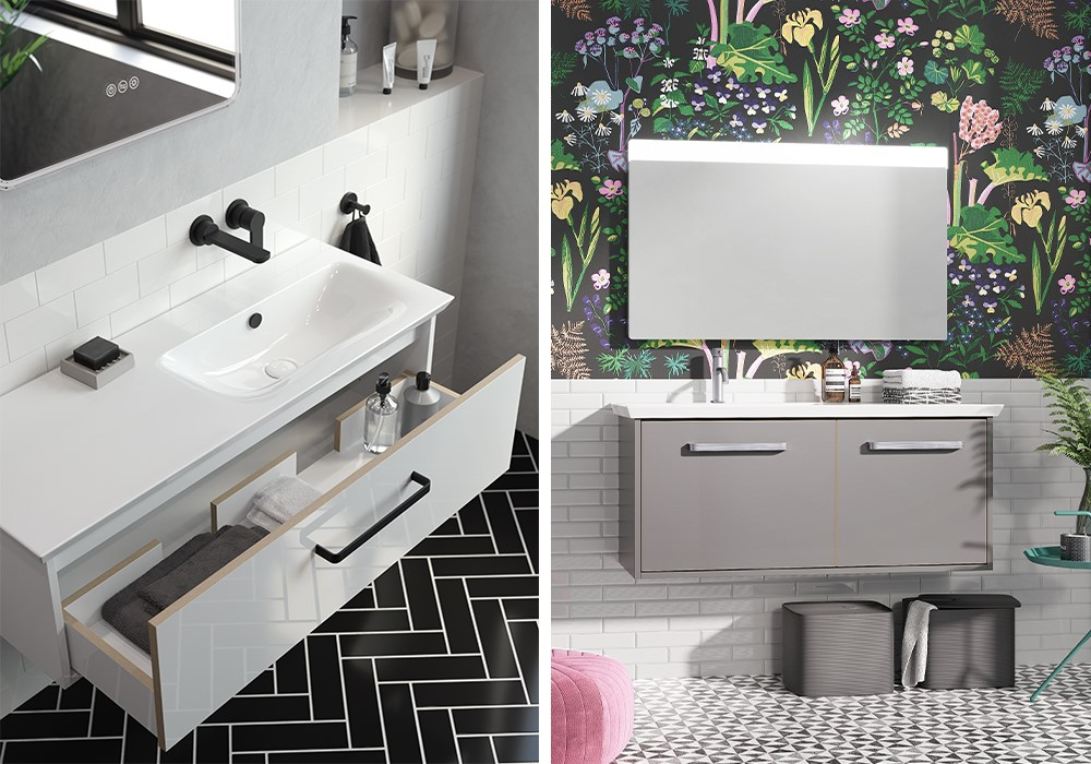 Modern Bathroom Colours | Create a colourful modern bathroom scheme with Arena furniture for stylish practicality.