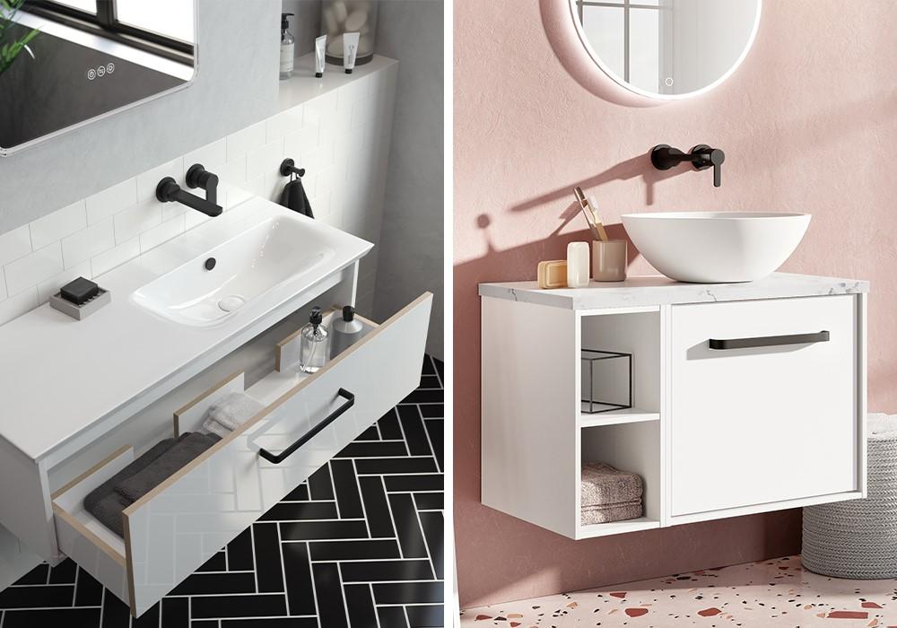 Modern White Bathroom | Opt for modern white bathroom furniture to give your luxury white bathroom that spa like feel.