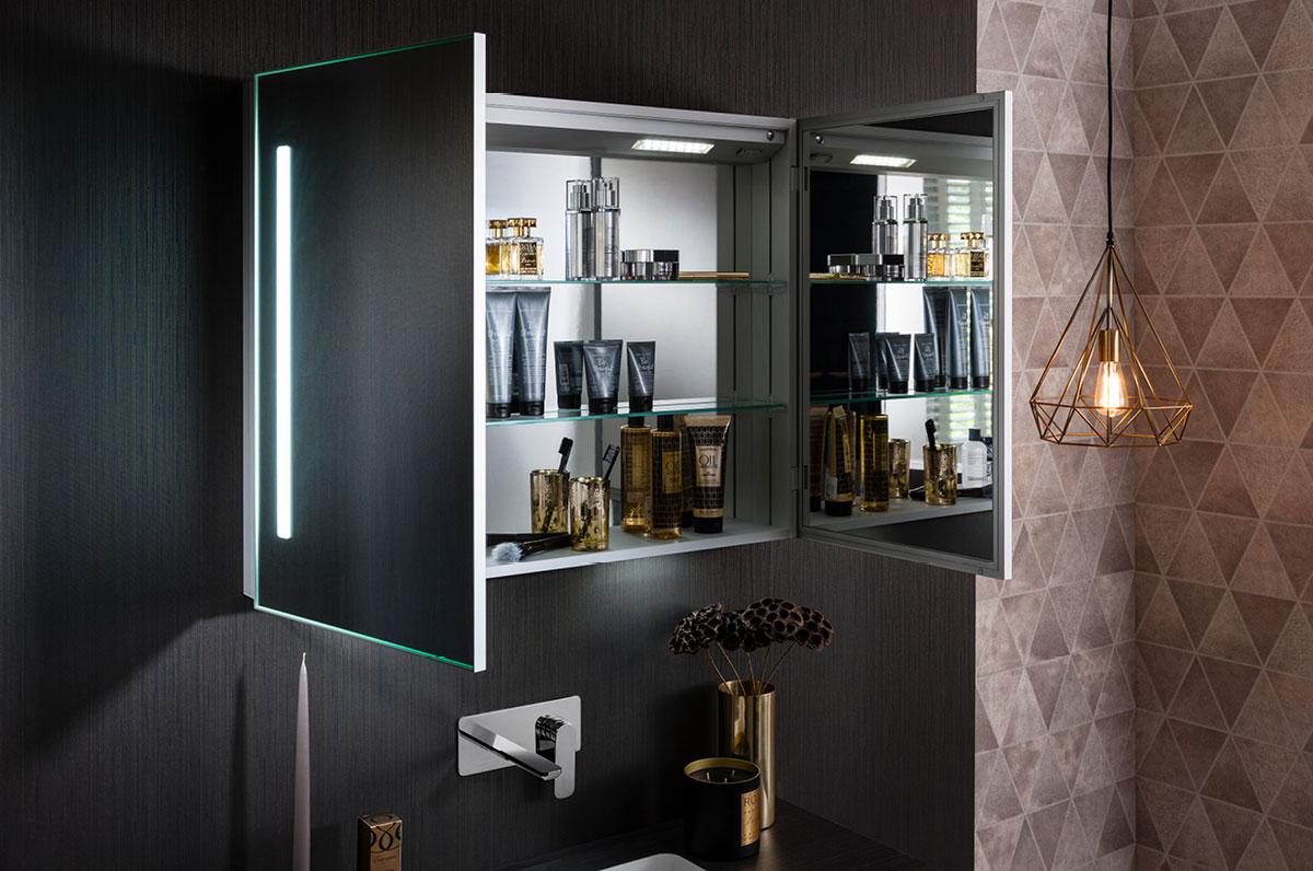 Allure 900 mirrored cabinet in allure luxury bathrooms for Allure kitchen cabinets