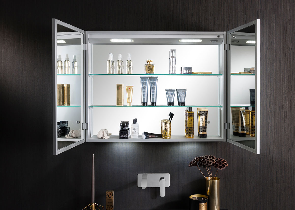 Allure 900 mirrored cabinet in electric lit mirrored for Allure kitchen cabinets