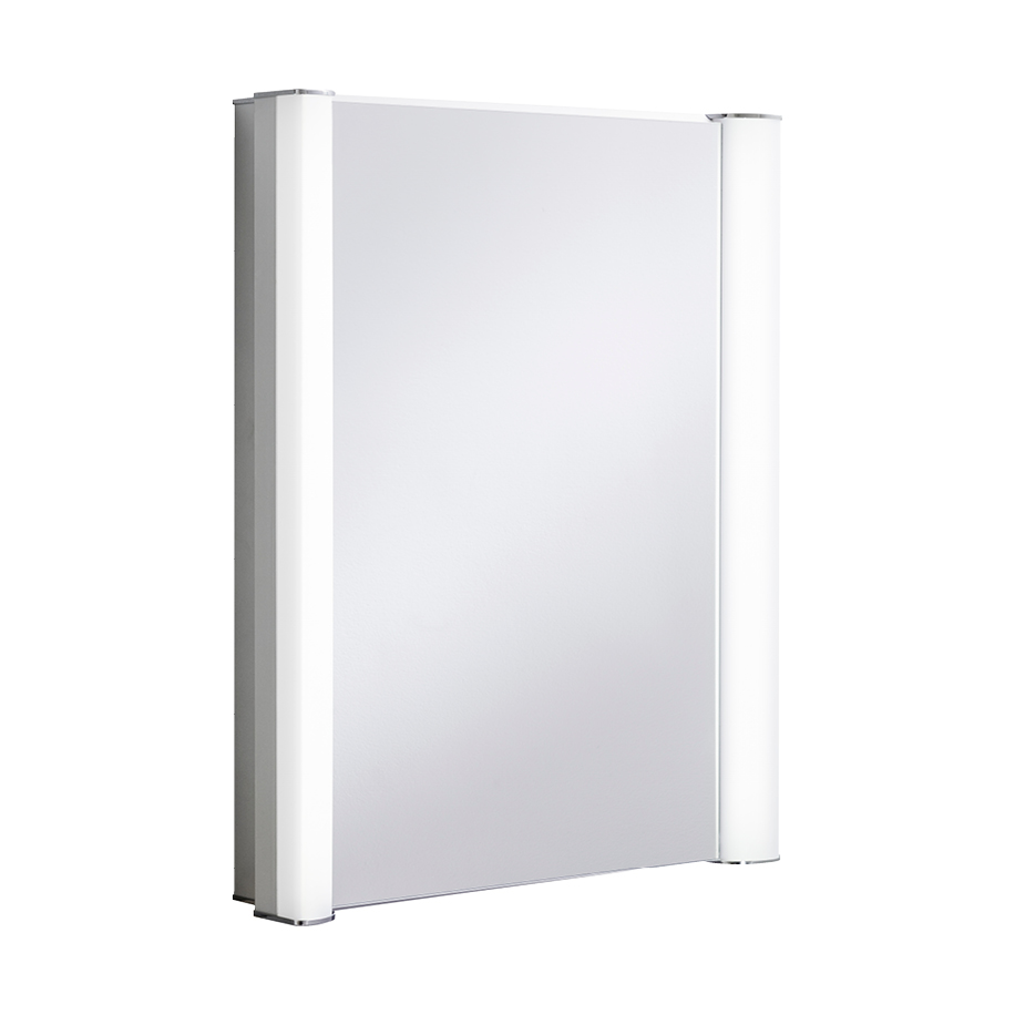 Duo 600 illuminated mirrored cabinet in electric lit for Bathroom cabinet accessories