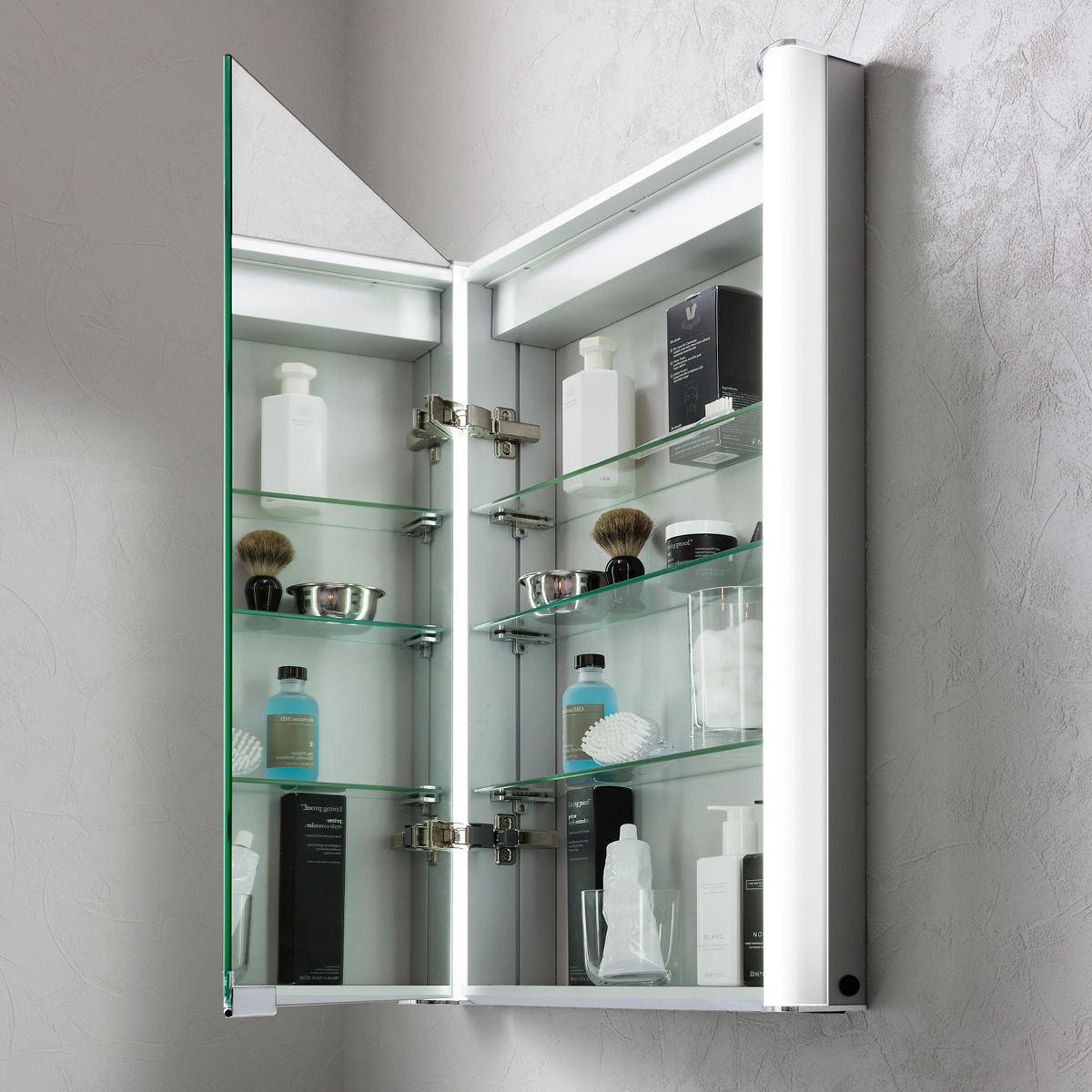 Duo 600 Illuminated Mirrored Cabinet In Duo
