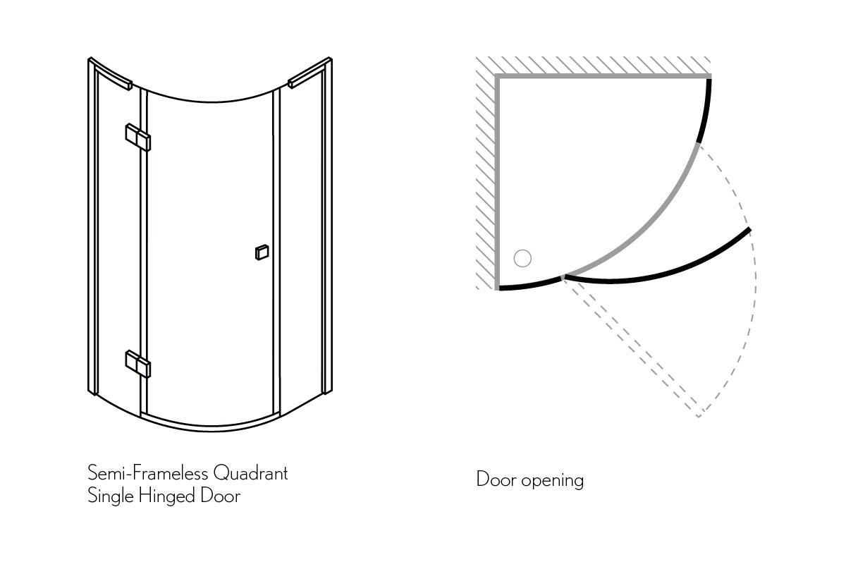 Design quadrant single door shower enclosure in quadrant for Door quadrant