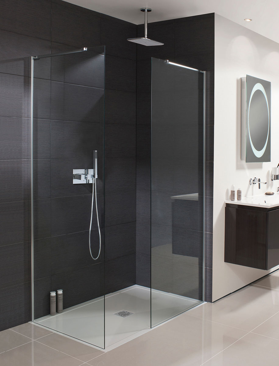 Design walk in shower panel in frameless luxury for Walk in shower plans
