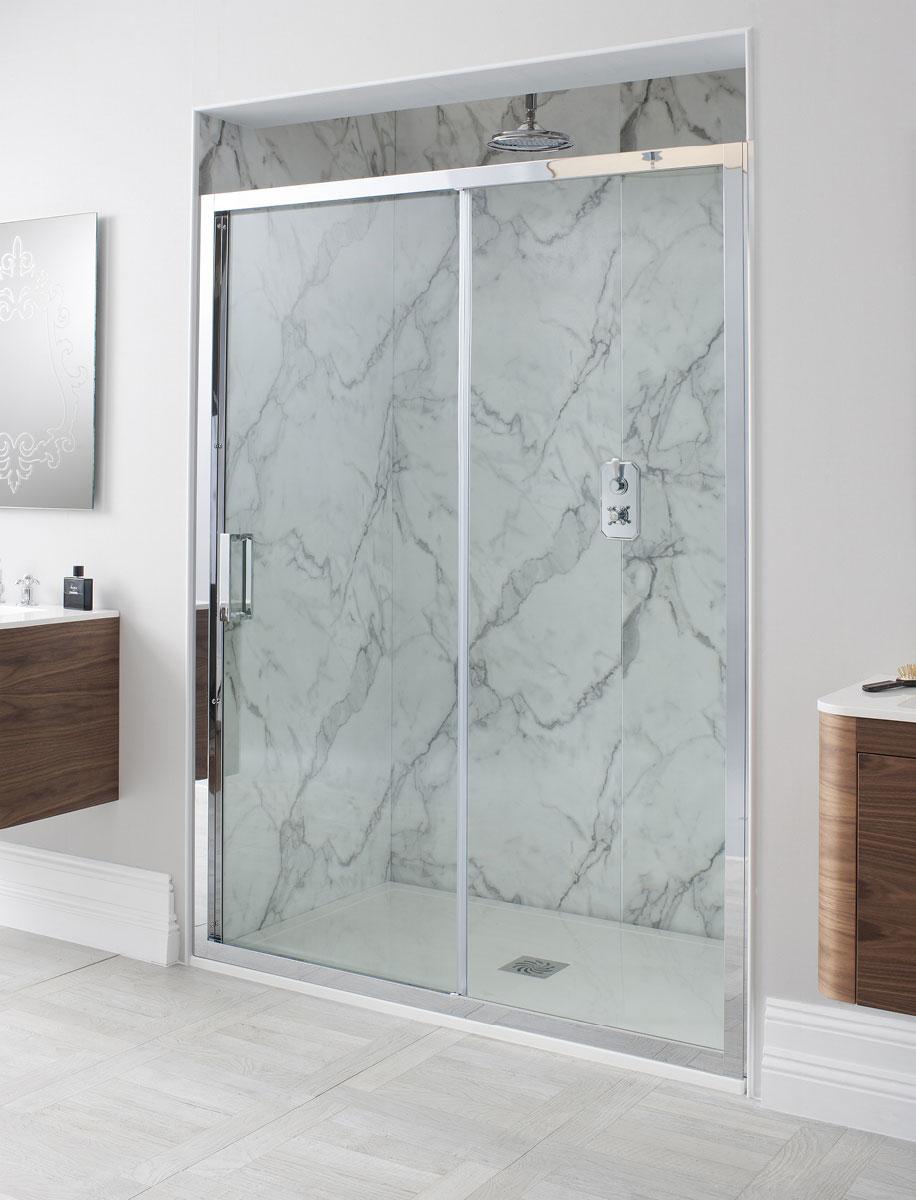 sliding door shower enclosures luxury bathrooms uk crosswater elite single slider shower door