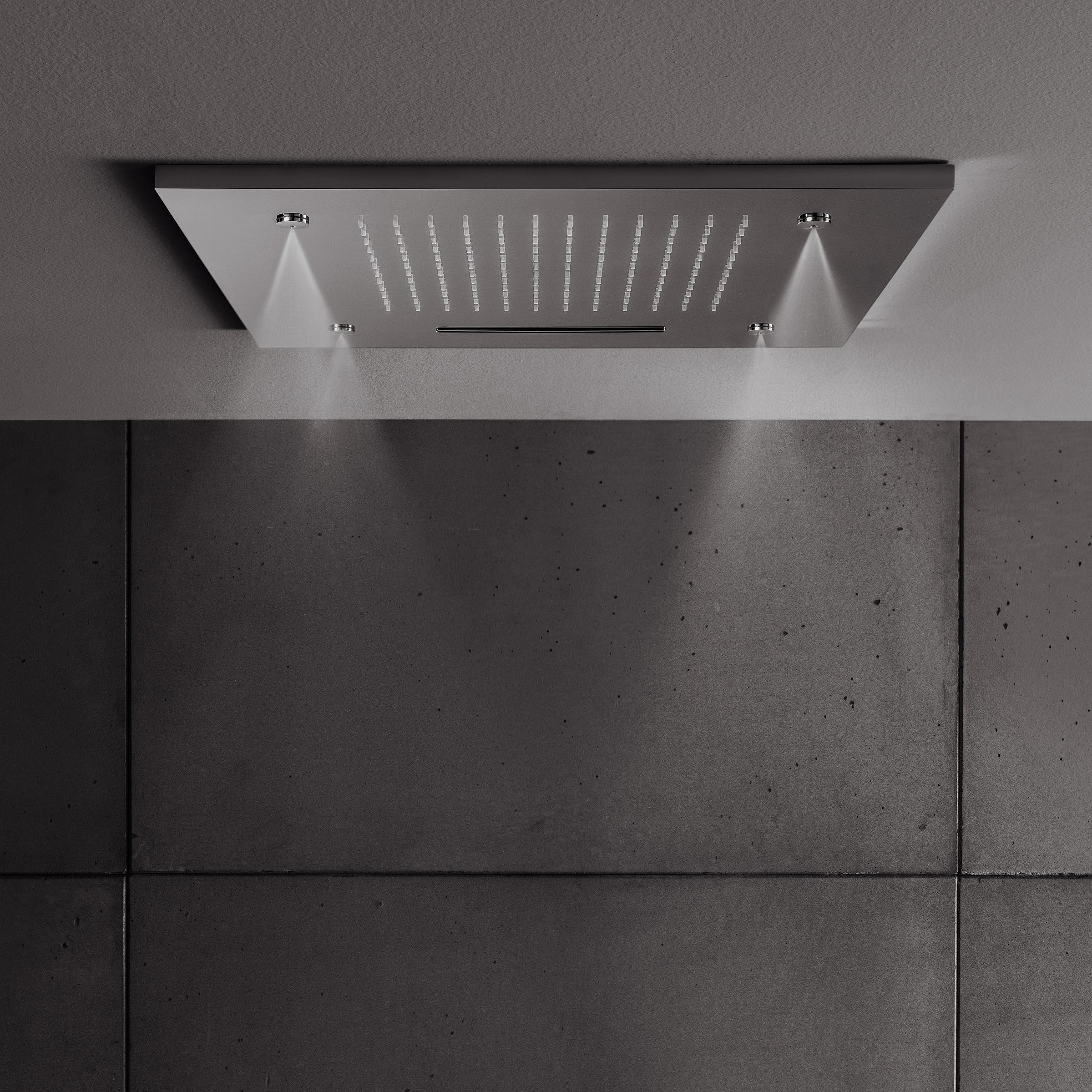 square multifunction recessed 500mm showerhead in recessed