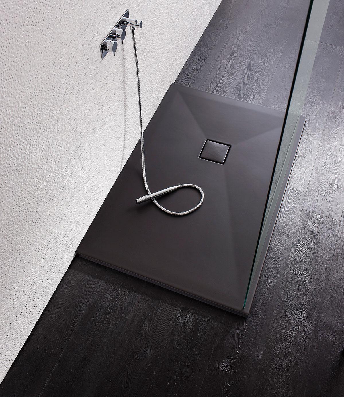 Rectangular PLUS+TON Ceramic Matt Black Shower Trays in ...