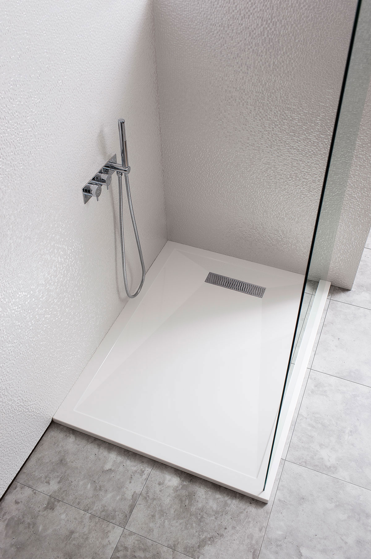Rectangular 25mm Stone Resin Shower Tray with Linear Waste in ...