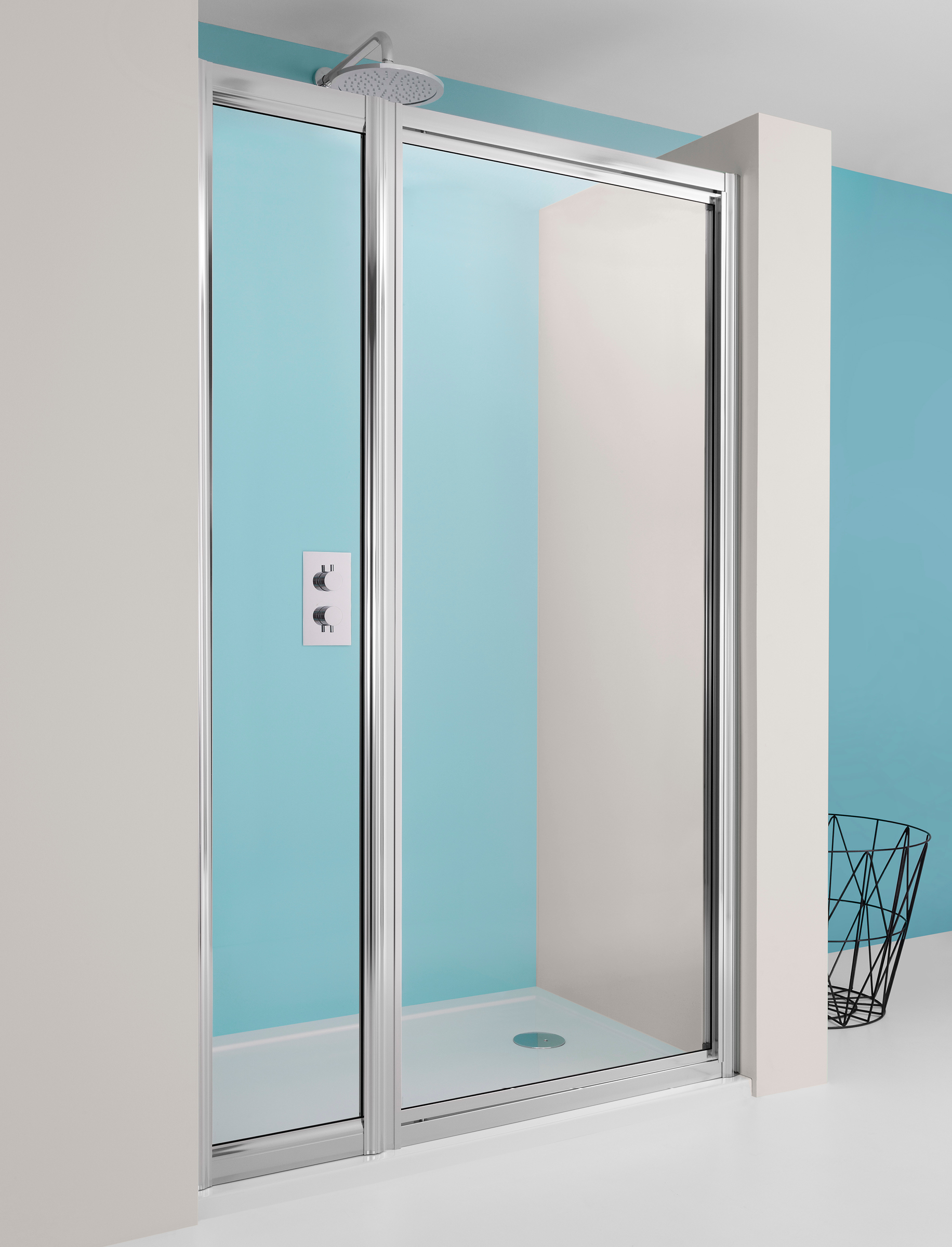 Supreme Pivot Shower Door With Inline Panel In Supreme