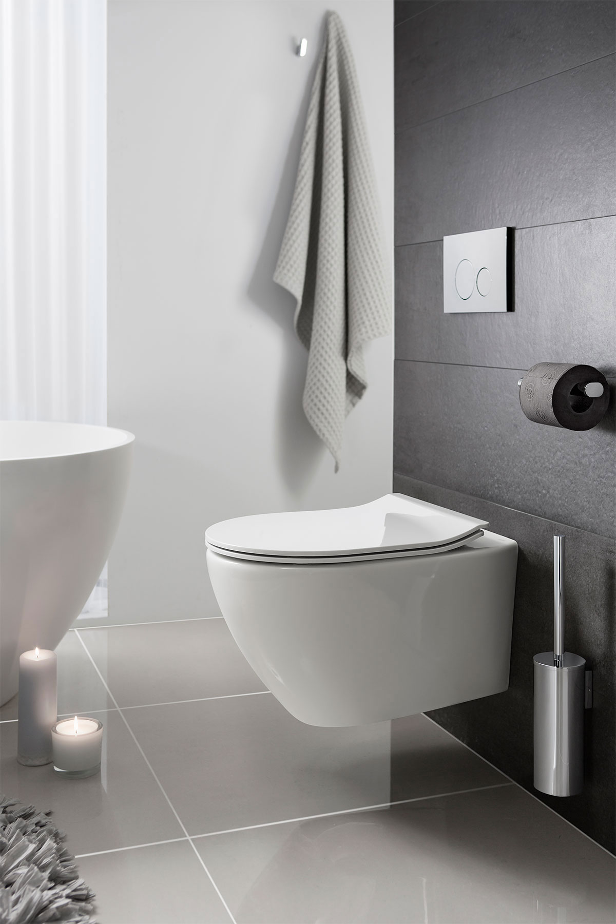 Svelte White Wall Hung Wc Soft Close Seat In Wall Hung