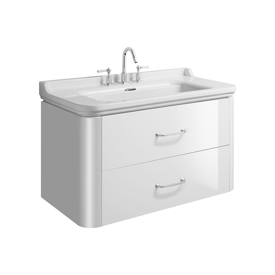 Waldorf 1000mm wide unit basin overflow cover and 2 bow for 1000mm kitchen drawer unit
