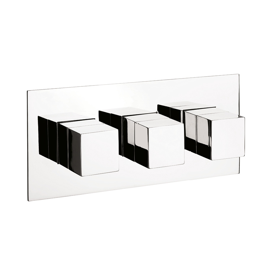 Water Square Thermostatic Shower Valve With 3 Way Diverter